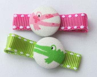 Snappy Alligators--2 Button Hair Clips