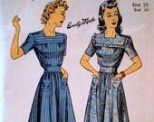 Vintage 1940s Dress Pattern Du Barry 5587 Bust 38 Wartime Pattern Dirndl Skirt Square Neckline WWII FF