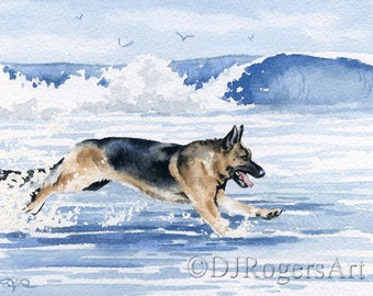 "German Shepherd Art Print ""GERMAN SHEPHERD At The Beach"" Signed by Watercolor Artist DJ Rogers"