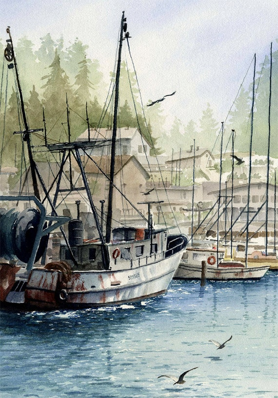 Fishing art print morro bay fishing boats signed by for Morro bay fishing