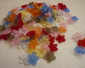New Item -- 84 pieces of Lucite 5 petals Little Flower in Matte Mixed color - 12 x 12 mm