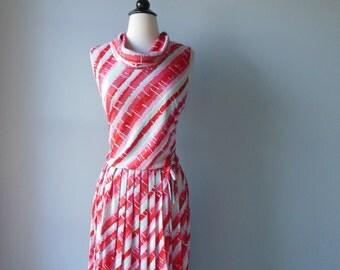 60's painted dress/ cowl neck dress/ pleated dress