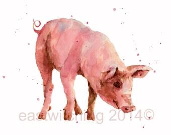 NURSERY PIGLET Print, pink pig, peppa pig, cute animal art, nursery art