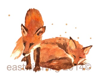 Fox watercolour print, fox, fox painting
