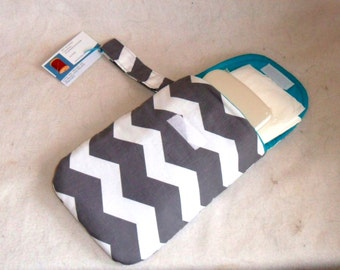 Gray Chevron Diaper Clutch with Hand Strap CHOICE OF FABRIC