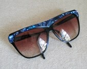 Vintage 1990s Huge Blue Sunglasses with Ombre Shade Lenses