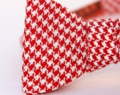 red & white houndstooth freestyle bow tie