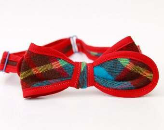 happy plaid bow tie- red