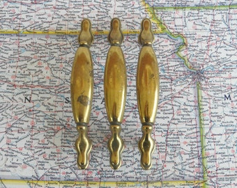 SALE! 3 vintage curvy distressed brass metal pull handles