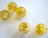 14mm Gold Crackled Glass Marbles 20 pieces Cracked Yellow