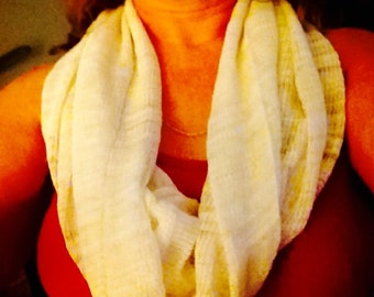 Infinity Scarf, Cowl Collar Hood in Tan Knitted Fabric Summer Weight Ready to Ship
