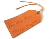 Personalised Leather Luggage Tag, Orange