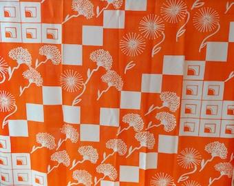4 Yards Vintage Fabric Orange With White Designs
