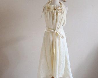 Alternative eco wedding linen ruffle dress made to measure listing