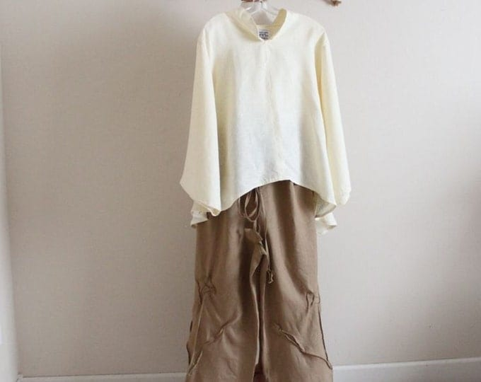 linen outfit blouse with pants  handmade to measure/ women clothing / plus size clothing / cream blouse / ginger pants / drawstring pants /