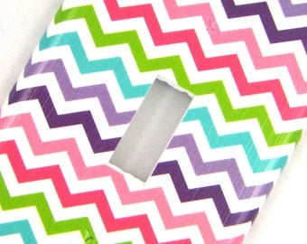 Chevron Light Switch Cover -- Pink Purple Blue Green Rainbow