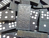 Japan Vintage Wood Dominoes With Floral Design For Crafting