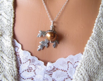 Oak Leaf And Copper Pearl Jewelry Acorn Necklace Choose Silver Or Brass