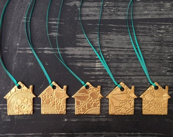 5 Gold House Christmas Ornaments Ceramic Christmas Tree Decorations Holiday Decor or Housewarming Houses Turquoise or choose ribbon colour
