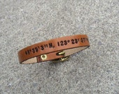 Custom Nautical Latitude/Longitude 3/8 inch wide Leather Wristband with Buckle