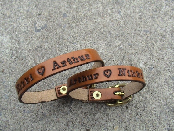 His n Hers - Personalized - Ultra thin buckled wristbands - set of 2