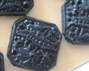Set of 4 Small Square ANTIQUE Victorian Lacy Black Glass BUTTONS