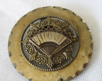 Large Antique Pierced Metal Hand Fan BUTTON