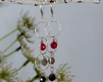 AA Sapphire Earrings Multi-Colored Earrings Sterling Silver Chain