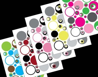 Printable Circles Collage Sheets-INSTANT DOWNLOAD