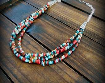Clemintine, Western Cowgirl Southwestern Boho Beaded Multi Strand Glass Necklace