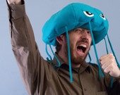 Jellyfish Hat Plush Fleece - Turquoise