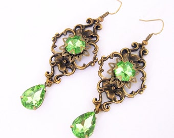 Vintage Filigree   Antiqued Brass With Peridot Glass Stone Earrings.