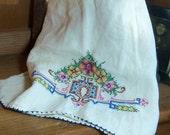 Vintage Cross Stitch Hand Embroidered Linen Kitchen Towel