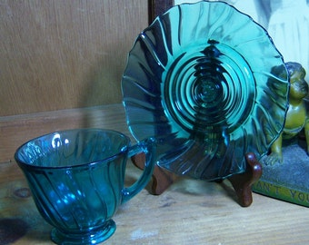 6 Jeanette Swirl Ultra marine Blue Cups and Saucers Depression Glass