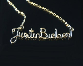 Justin Bieber Necklace, Silver Plated, Customizable, Wire Name, Wire Word