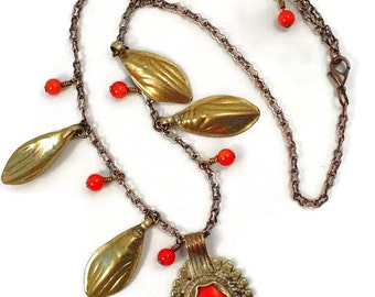 Necklace w Red Coral and Old Afghan Jewelry Elements,