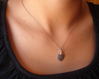 Necklace, Vintage Sterling Silver Marcasite Heart Pendant and Chain