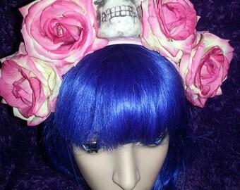 La Catrina, Flower crown, rose crown, skull, Day of the dead, Pink, Pink rose crown, Skull crown