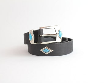 SALE | Western Leather Belt | Faux Turquoise Leather Belt | Vintage 80s Black Leather Belt | L to XL