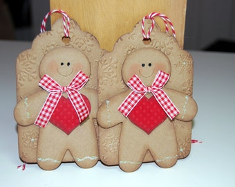 Christmas Gift Tags Set of Two Gingerbread Embossed Tag Gift Cards with Twine