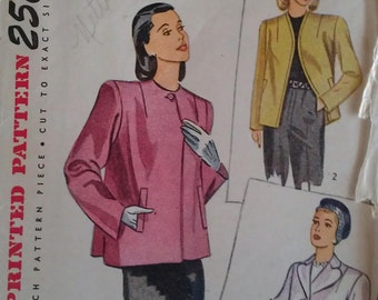 Vintage 40s Lined Single Button Closure Notched Collar Jacket Blazer Sewing Pattern Simplicity 1219 B34