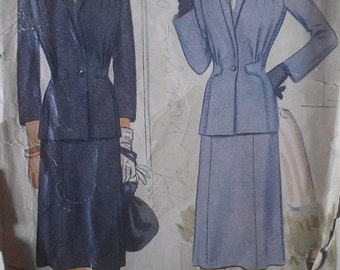 Vintage 40s Nipped Shaped Wasp Waist Gathered Shoulder Suit Jacket Sewing Pattern 5511 B40