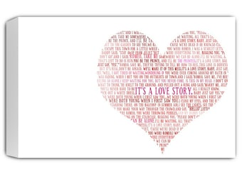 heart word art or other shapes word art  Lyrics Collage on canvas or shape of moon, 24X36