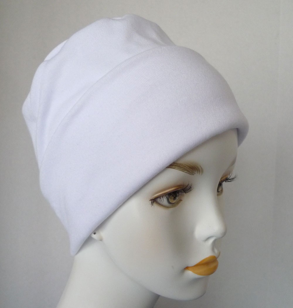 white cool weather rolled cuffed cancer chemo hat cotton poly