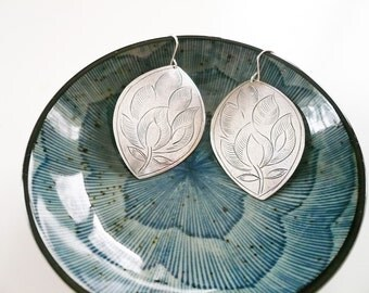Big Silver Earrings - Silver Earrings. Stamped Leaf Flower Earrings in Tin and Sterling Silver -  Big Leaf Earrings, Moroccan Style Earrings
