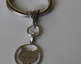 Sterling WOLF Key Ring, Key Chain - Wildlife, Pet, Totem