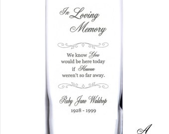 Personalized Engraved Memorial Glass Candleholder Vase Celebration Of Life Remembrance Candle Memory