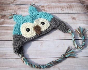 Newborn Boy Owl Ear Flap Hat, Baby Boy Awake Owl Hat, Infant Animal Hat, Newborn Costume, Baby Halloween Hat, Baby Boy Photo Prop, Blue