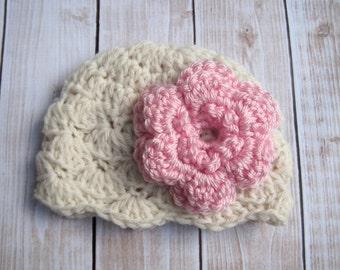 Crochet Flower Hat, Baby Girl Flower Hat, Baby Girl Hat, Newborn Hat, Infant Hat, Baby Girl Beanie, Baby Winter Hat, Coming Home Hat, Pink
