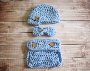 Newborn Boy Hat, Baby Boy Bow Tie, Baby Hat and Bow Tie Set, Baby Newsboy Hat, Crochet Newborn Hat, Baby Diaper Cover Set, Photo Prop, Blue